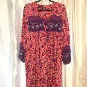 Topshop boho maxi long sleeve floral dress tassel